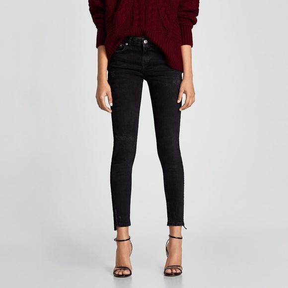 8cb9ef7d Zara Black Jeans w Velvet Stripe